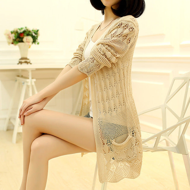 Women's Fashion Knitted Loose Pocket Hollow Long Sleeve Sweater Cardigans Coats Outerwear