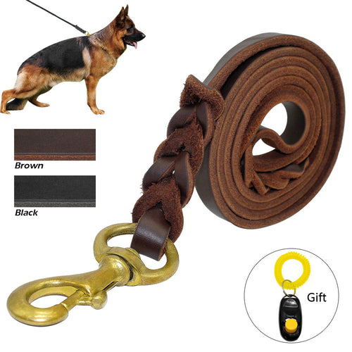 Pet's Braided Leather Pet K9 Walking Training Leash Lead For Medium Large German Shepherd Gift Dog Training Clicker