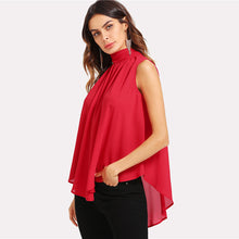 Women's Summer Stand Collar Sleeveless Chiffon Blouse Red Asymmetrical Top