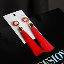 Women's Bohemian Crystal Tassel Silk Fabric Long Drop Dangle Tassel Earrings