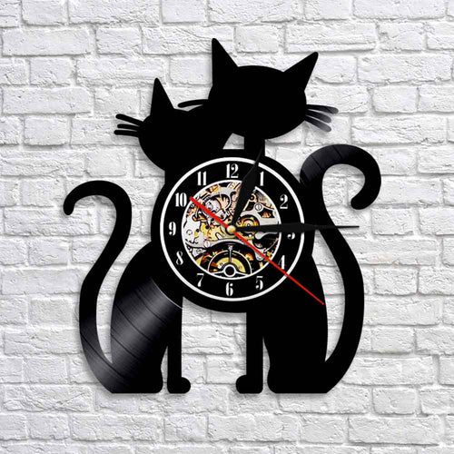 1 Piece Black Cats Kitty Vinyl Wall Clock Housewarming Gift Cat Lover Cats Vinyl Record  Modern Wall Art Décor