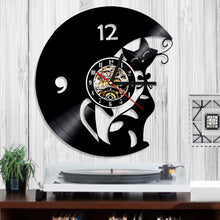 1 Piece Modern Design Wall Art Decorative Clock Cat Kitty Vintage Vinyl Record Time Clocks Gift For Cat Pet Lover