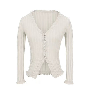 Women's Spring Summer Women Ruffle Trim Crop Knitted Long Sleeve with Buttons Deep V Neck Crop Knit Jumpers Cardigan