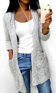 Women's Autumn Loose Casual Long Sleeve Pocket Sweater Jacket Knitted Cardigan