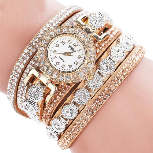 Women's PU Leather Rhinestone Watch Bracelet Quartz Watch