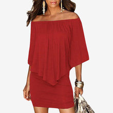 Women's Summer Off Shoulder Slim Solid Slash Neck Butterfly Sleeve Sheath Sexy Club Beach Dresses Vestidos