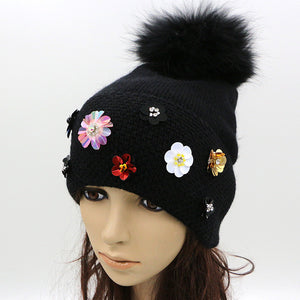 Women's Winter Hat With Flower Cool Knitted Wool Beanie