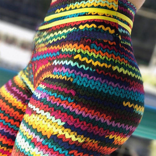 Women's New Original Knit Printing High Waist Elastic Fitness Colorful String Front Leggings