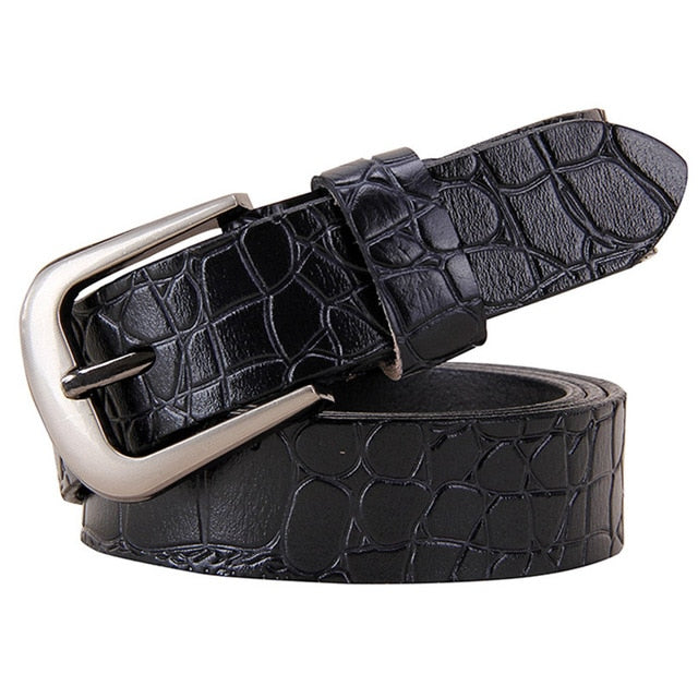 Women's High Quality Fashion Pin Buckle Second Layer Cowskin Jeans Strap Genuine Leather Belts