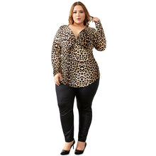 Women's Big Size Spring Autumn Grey Leopard Deep V Neck Long Sleeve Slim Tunic Top Large Size Blouses 5XL 6XL 7XL