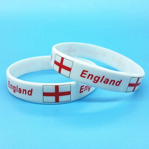 Unisex 2018 2 Pieces Flag Sport Silicone Bracelets World Football Game Rubber Bangle