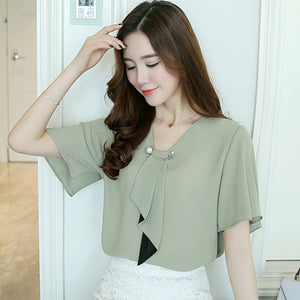 Women's Spring Fashion Chiffon Short Sleeved  Plus Size Casual Tops