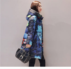 Women's Winter Casual Hooded Printed Thicker Down Cotton Long Plus Size Padded Coat Jacket