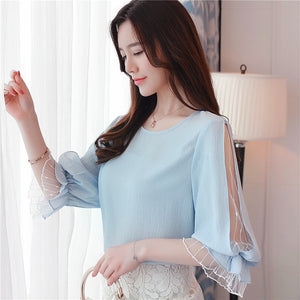 Women's Summer Fashion Chiffon O-neck Tops