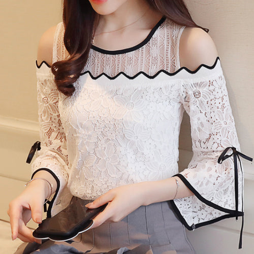 Women's Fashion Strapless Sexy Lace Chiffon Stitching Flare Sleeve Top Lace O-neck Blouse