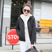Women's Autumn Winter Plus Velvet Lamb Hooded Coats Cotton Winter Jacket