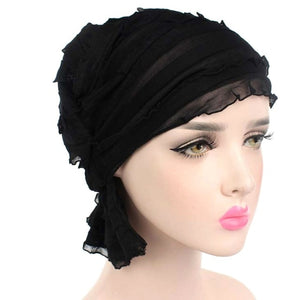 Women's Turban Headwear Ruffle Chemo Hat Beanie Scarf For Cancer