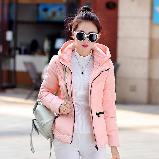 Women's Autumn Winter Cotton Padded Slim Hooded Jacket