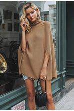 Women's Autumn Winter Knitted Turtleneck Cloak Camel Casual Pullover Sweaters