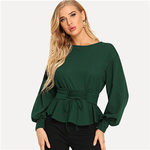 Women's Autumn Green Lantern Sleeve with Corset Belt Elegant Lace Up Boat Neck Blouses Top