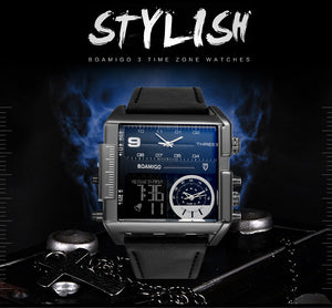 HIGH-TECH men sports watch,  3 time zones, military LED watch, leather quartz wristwatch relogio masculino