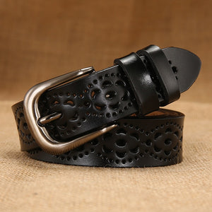 Women's Floral Carved Thin Genuine Leather Belts Ceinture Femme Belt Female