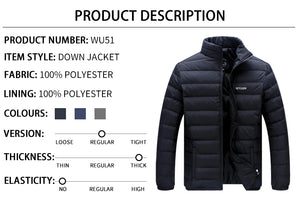 Men's Brand Winter Big Size Ultralight Down  Casual Snow Warm Fur Collar Big Size Coat Jacket Outerwear