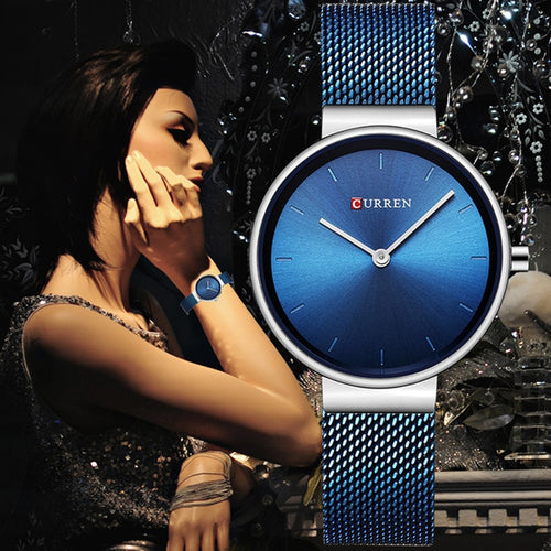 Women's Luxury Brand Steel Blue Quartz Wrist Watch Sport Relogio Feminino