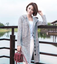 Women's Spring Long Sleeve Hooded Cotton Knit Soft Elastic Solid Colore Cardigan Sweater