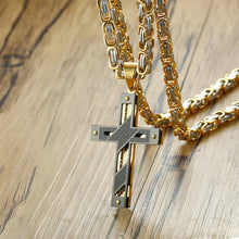 Men's Byzantine Gold Silve Stainless Steel Chain Catholic Crucifix Pendant Male Punk Rock Ornaments Vnox Cross Necklace