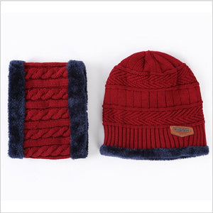 Unisex Winter Knitted Hat Scarf Neck Skullies Beanies Warm Fleece Cap Hats