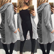 Women's Gothic Cut Out Cardigan Long Ripped Back Hooded Coat Sweater