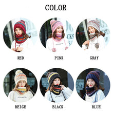 Women's Winter Autumn Knitted Scarf 2 Pieces Set Fashion Wool Thickening Warm Hat Set Snow Caps