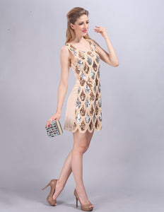 Women's Summer Fashion High Quality Handed Sequin Peacock Shining Party Slim Sleeveless Tank Club Dresses