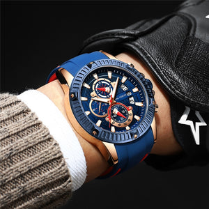 Men's Fashion Luxury Brand Sport Waterproof Silicone Strap Quartz Wristwatch