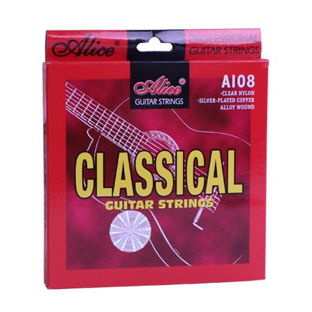 Classical Guitar Strings Set 6-string Classic Guitar Clear Nylon Strings Silver Plated Copper Alloy Wound - Alice A108