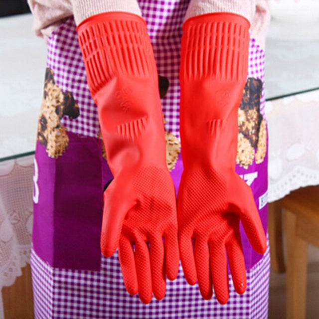Women's Comfortable Rubber Clean Household  Dish Washing Long Kitchen Gloves