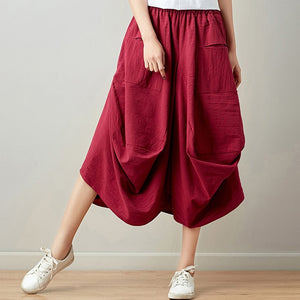 Women's Summer 2019 National Style Art Retro Solid Lantern Skirt
