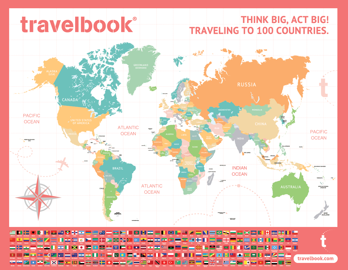 Travelbook Scratch Map - Package of 5
