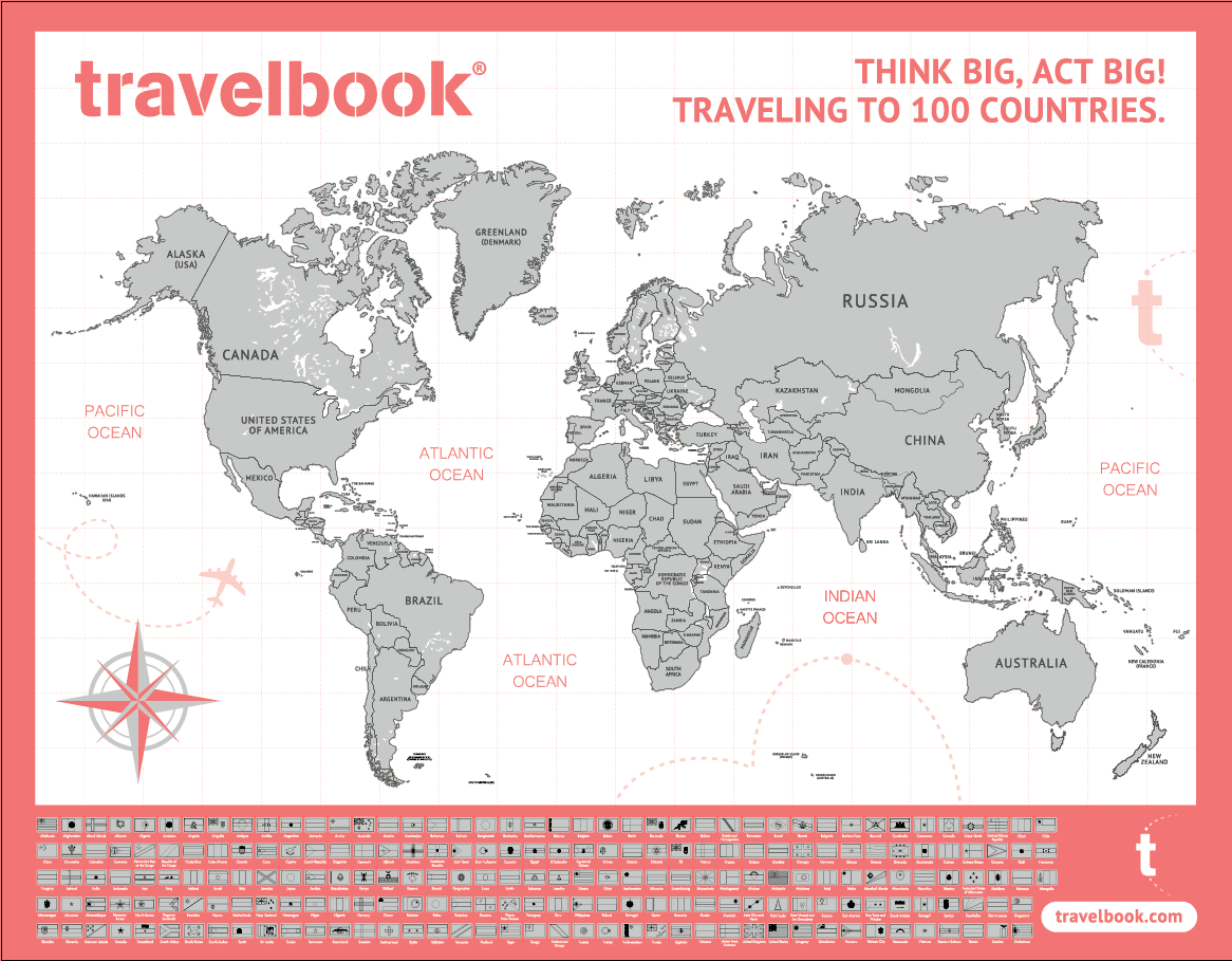 Travelbook Scratch Map - Package of 3