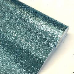 Duck egg blue chunky glitter fabric