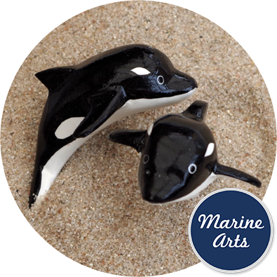 Wooden orca whale