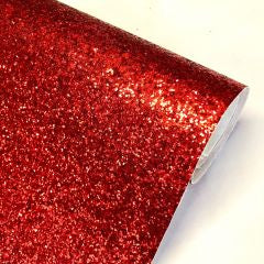 Red chunky glitter fabric