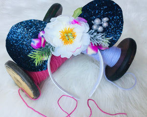 Mouse ears blue glitter
