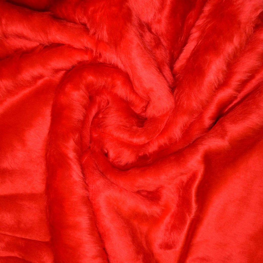 Red short pile faux fur