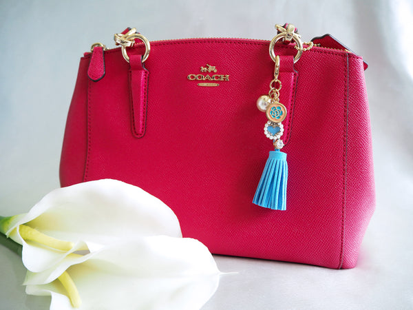 26f4668f57 Camellia and Pearl Heart Charm with Blue Leather Tassel Bag Charm