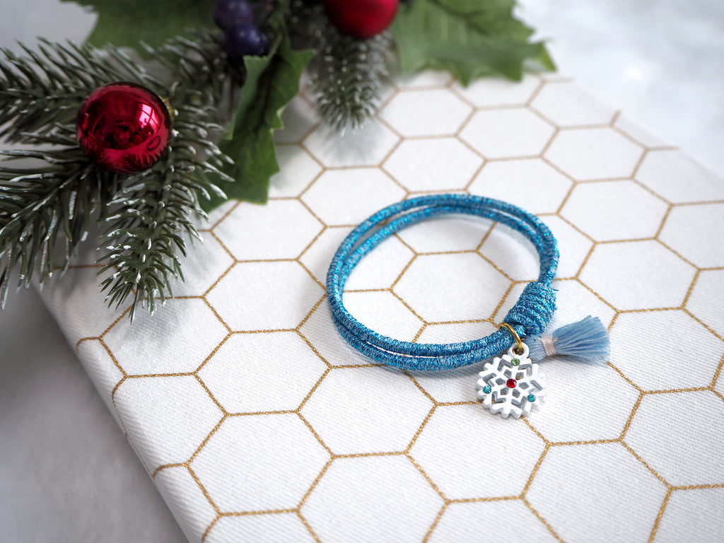 Glittery Blue Hair Tie With White Snowflake And Baby Blue Tassel Charm Tresor City