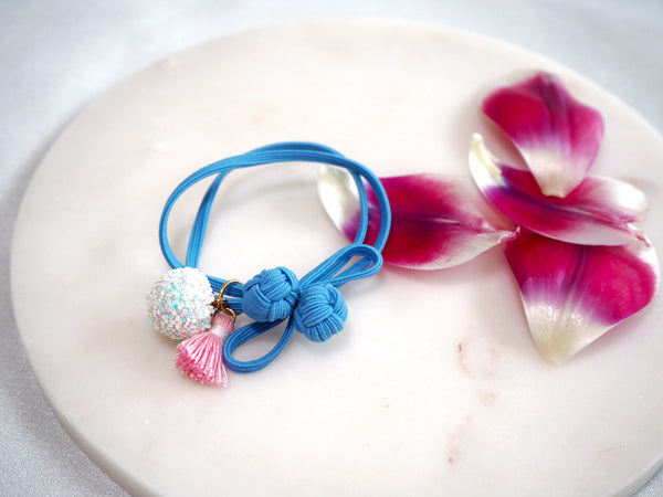 White Glitter Ball and Baby Pink Tassel on Baby Blue Oriental Knot Hair Tie 04bb46b489e