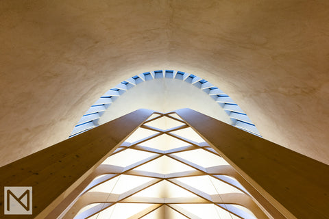 View up the rear wall of Bishop Edward King Chapel © Nick Miners Photography