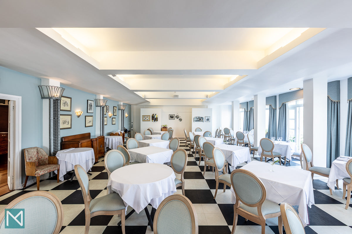 The breakfast room at the Burgh Island Hotel